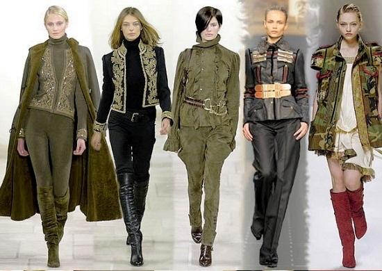 Варианты одежды и обуви в стиле милитари